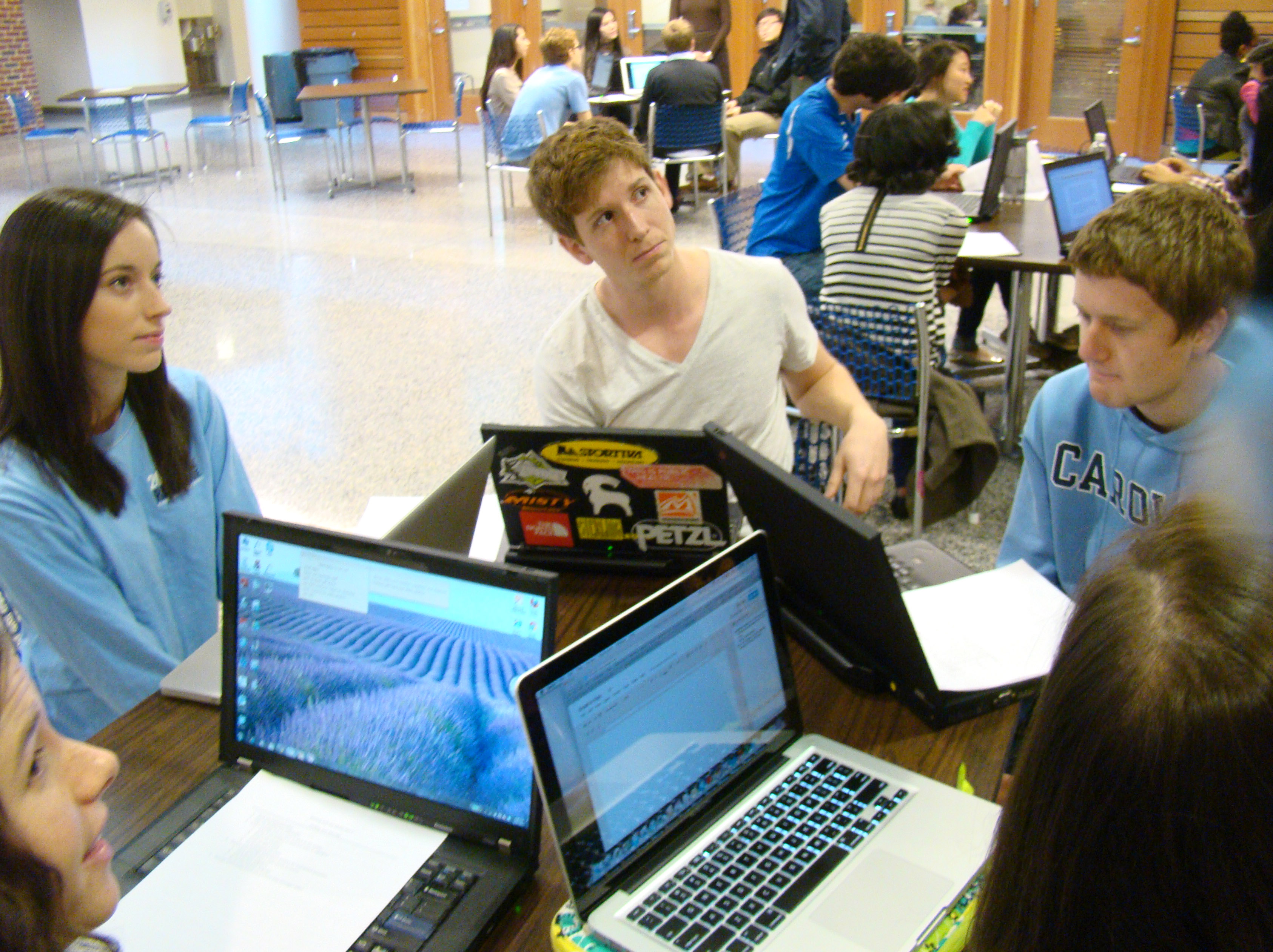 In Dr. Hobbs' class, students work in groups to master information quickly.