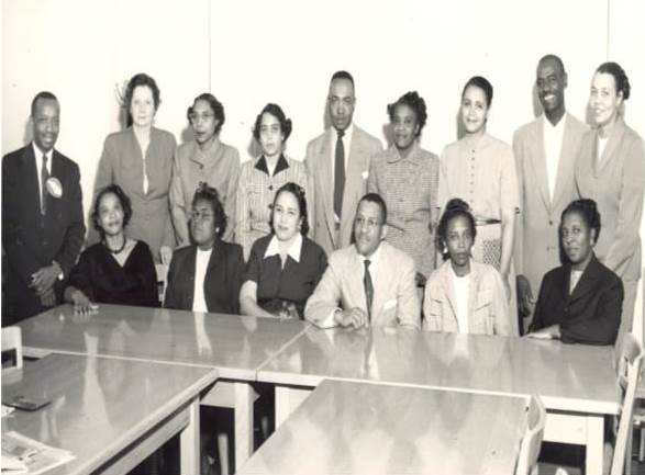 The first cohort of health education students at North Carolina Negroes College. Dr. Lucy Morgan, second row, left.