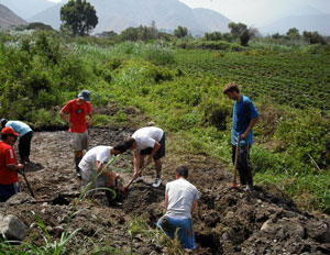 UNC's Engineers Without Borders chapter helps build a water pipeline in a rural village in Peru.