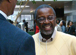 Delton Atkinson chats with friends at 2011 Minority Health Conference.