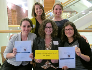 Left to right are award-winning capstone team members Phoebe Goldberg, Marcia Perritt, Laura Major, Rebecca Woodruff and Hannah Prentice-Dunn.