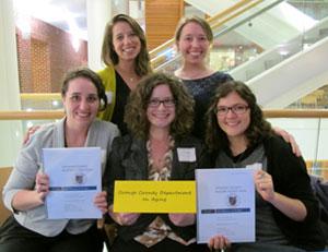 Phoebe Goldberg, Marcia Perritt, Laura Major, Rebecca Woodruff and Hannah Prentice-Dunn (l-r) won a state planning award for their Capstone work.