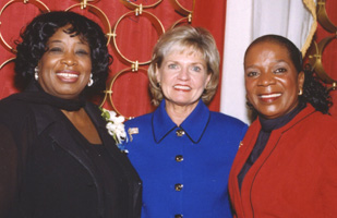 "Jeanne Hopkins Lucas (left), the first African-American woman to serve in the N.C. Senate, was a strong advocate for higher education. Lucas is pictured here with N.C.'s Gov. Bev Perdue (middle, then lieutenant governor) and Lucas' sister, Bernadette David-Yerumo (right). "" Jeanne Hopkins Lucas was a strong woman who turned her personal fight with breast cancer into a mission for all breast cancer patients and their families, both now and in the future. This study's objective of identifying causes of breast cancer is exactly what Jeanne would want to happen. She always knew that once the why and how of breast cancer was defined, the cure would follow. And so the work of Sen. Jeanne Lucas goes on - her passion lives on through this study, bolstered by UNC's reputation."