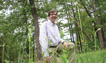 Dr. Steve Meshnick explores tick territory - the fields and woods so common in North Carolina.