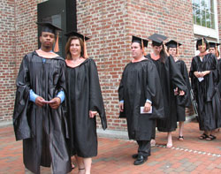 Photograph of students lining up for commencement