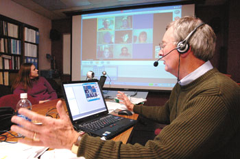 Dr. Ned Brooks teaches a DrPH class via videoconferencing