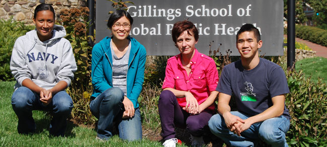 Dr. Drobna's Research Team: (left to right) Vaness Cross, Olivia Dong, Dr. Zuzana Drobna, Verne Tsang