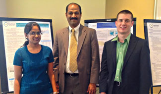 Left to right are Pradeepa Vennam, Dr. Sarav Arunachalam and Matt Woody.