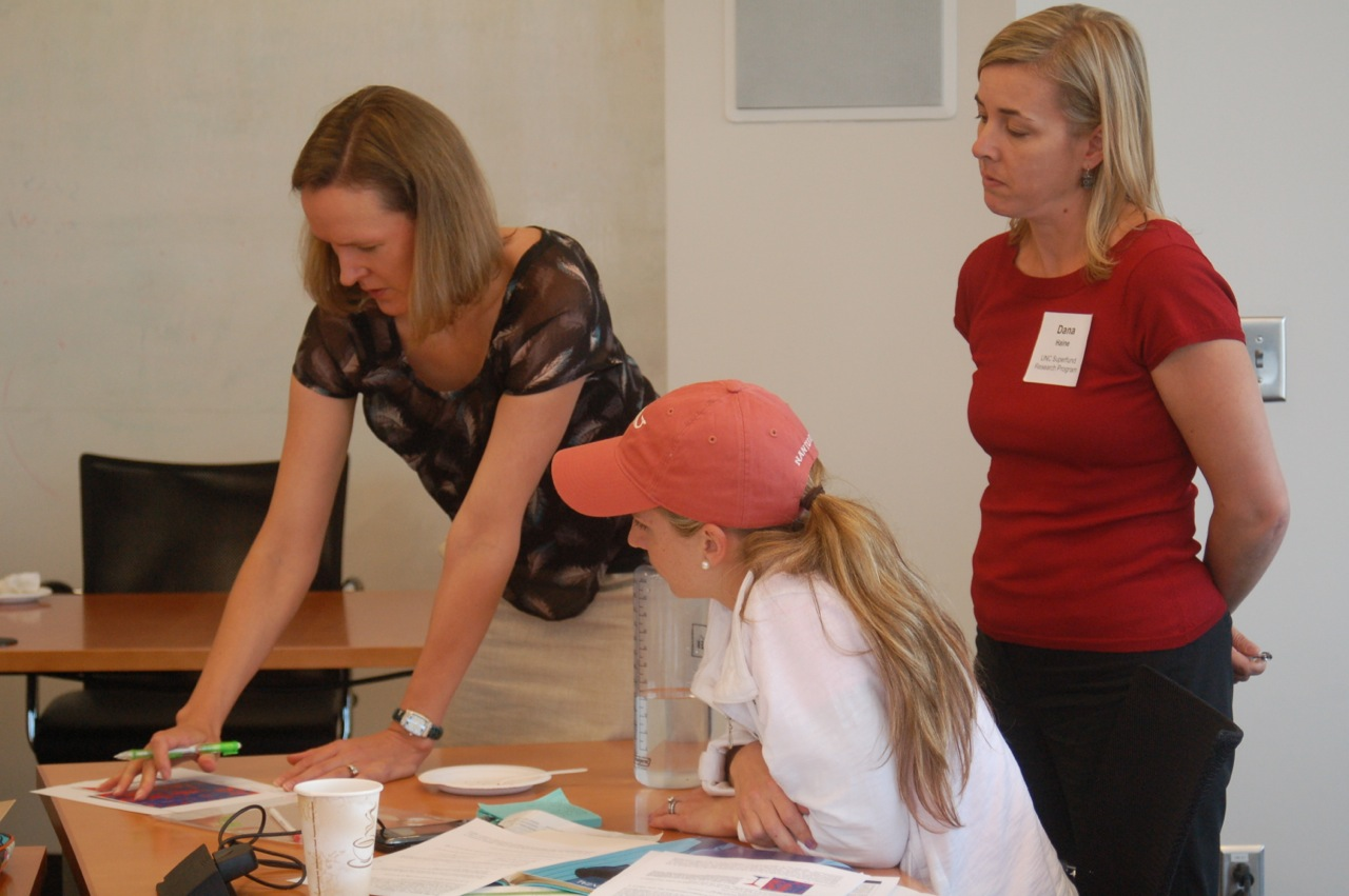 Dr. Rebecca Fry (left) with Research Translation Core staff, Dana Haine (right) and workshop participant