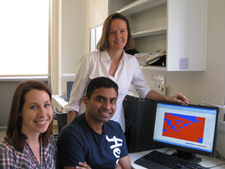 Dr. Rebeccca Fry, with graduate student Alison Sanders and Bhavesh Ahir, Post Doctoral Research Associate