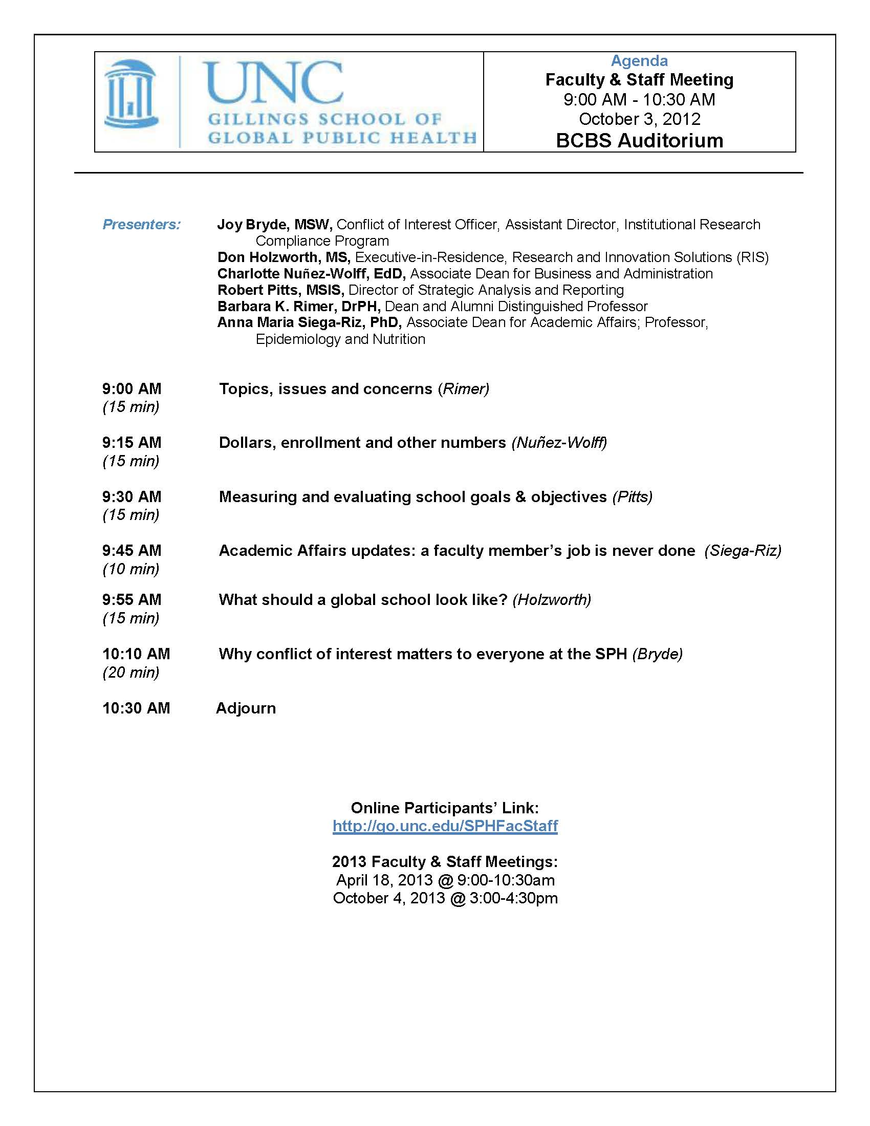 Faculty and Staff Meetings UNC Gillings School of Global Public – Meeting Agenda