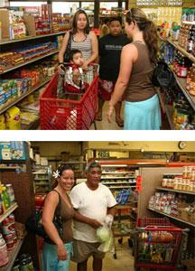 Gellert helped shoppers make healthful choices in Moloka'i.