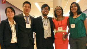 Left to right are PhuongGiang Nguyen, Peter Hur, Aniket Bera, Mariamu Masese-Amadi and Lakshmi Gopalakrishnan.