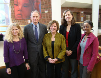 Left to right are the ambassador's wife, Catherine Kannenberg, PhD, Ambassador Lanier, Peggy Bentley, PhD, Suzanne Maman, PhD, and Mamie Sackey-Harris, MPH.