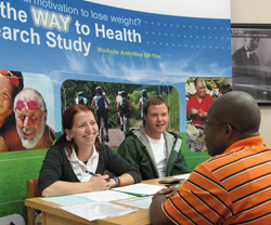 Research assistants with Way to Health, a workplace weight loss program, interview a study participant. Photo courtesy of UNC Center for Health Promotion and Disease Prevention.