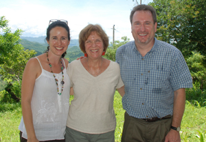 (Left to right) Doctoral student Yanire Estrada, with Drs. Peggy Bentley and Greg Reinhart, in Honduras