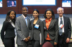 Student participants (L-R) Che Smith, Mohamed Jalloh, Mimi Goli and Laura Harker with Dr. Victor Schoenbach.