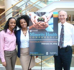 Dr. Vic Schoenbach, right, with (l-r) conference co-chairs Adrienne Gill and Chassidy Hanley