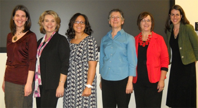 The NC Evidence-Based Public Health course faculty from left: Amanda Cornett, Lisa Macon-Harrison, Avia Mainor, Jennifer Leeman, Laura Edwards, and Kasey Decosimo