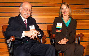 Drs. Jonathan Kotch and Marcia Angle share the stage at the School's 2009 World of Difference dinner.