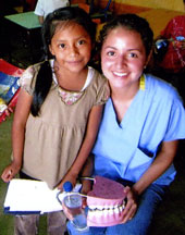 Perreras taught youngsters in Guatemala about oral health care.
