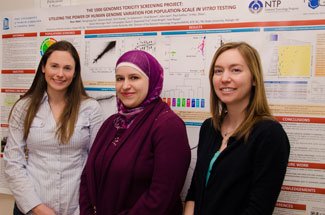Left to right are Julia Rager, Nour Abdo and Jessica Wignall, winners of the top three poster awards at the Society of Toxicology meeting on Feb. 21.
