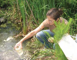 Patricia Drummey samples water
