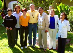 Dr. Stýblo (center) poses with Dr. Luz María Del Razo (second from left), UNC's Dr. Zuzana Drobna (in orange), Mayor Eusebio Aguilar and local public health workers in Zimapan, Mexico.