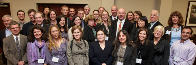 A group of School faculty members and alumni gather at the launch of The Water Institute at UNC in October 2010.
