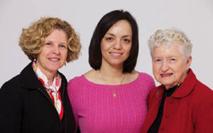 Lucy Siegel, MPH, Lupe Huitron and Gladys Siegel (l-r) visit at the 2010 World of Difference dinner.
