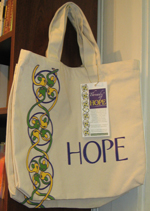 The Threads of Hope organic cotton bags were sold last year at The Regulator Bookshop in Durham, N.C. Photo by Salli Benedict.