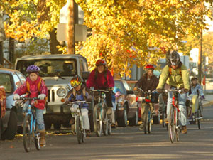 The Active Living by Design grantee in Columbia, Mo., has worked hard to mobilize the community to bike more often. Here, several families enjoy a crisp fall morning. Photo courtesy of Active Living By Design.