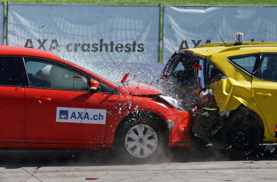 A car accident involving two vehicles