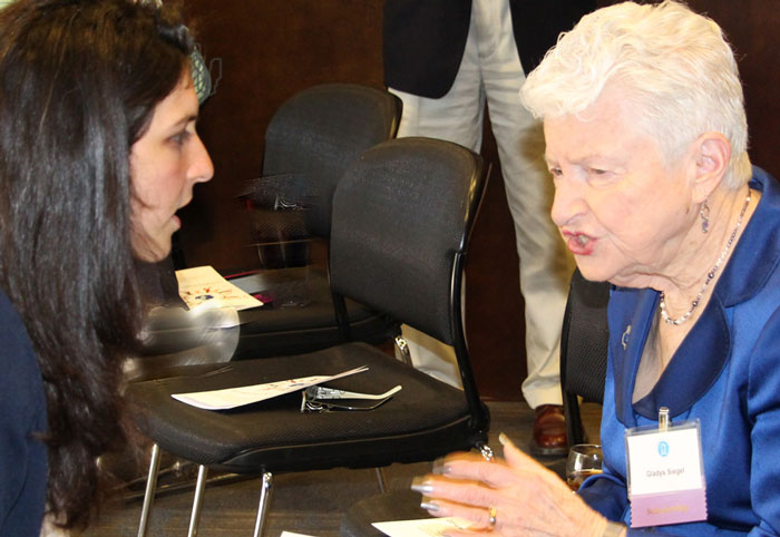 Leila Dal Santo, MCH recipient of the 2014 Earl and Gladys Siegel Student Support Fund Award talks with donor, Gladys Siegel, during MCH Family Reunion.