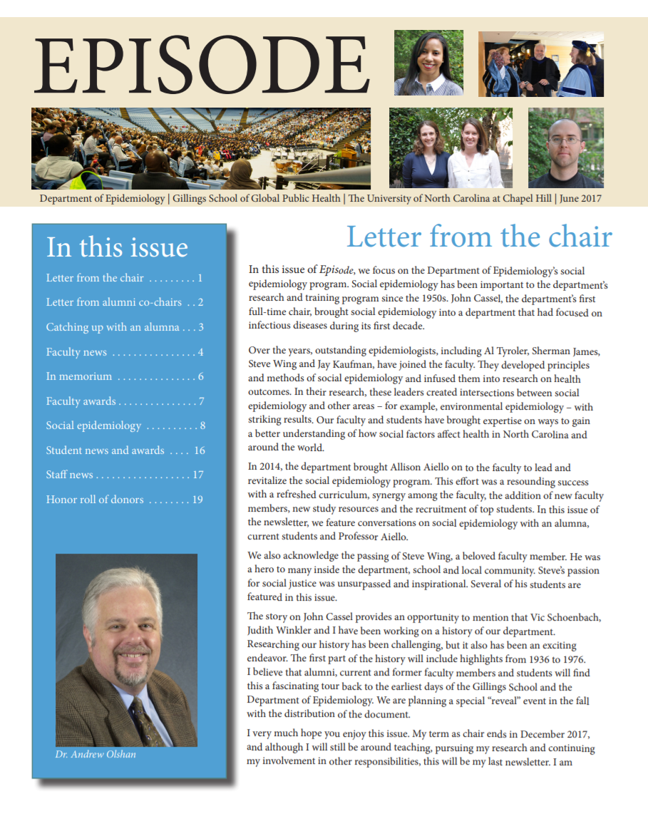 Cover of the 2017 Episode newsletter. Select the image to view the newsletter as a PDF.