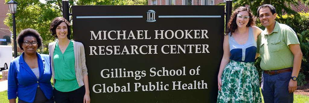 Health Behavior students pose in front of Michael Hooker Research Center.