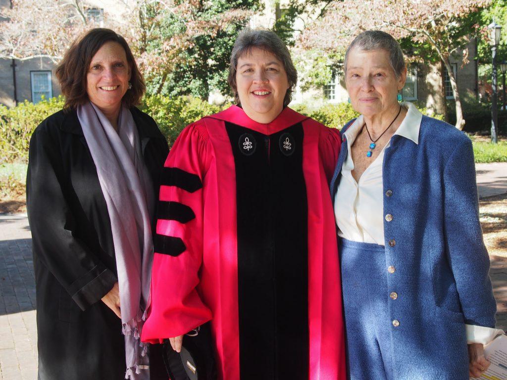 Alexandra Lightfoot, Laura Linnan and Jo Anne Earp enjoy University Day, a Carolina tradition.
