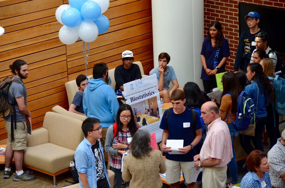 Students gather at the Biostatistics prospective student day.