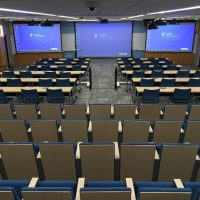 Joan Heckler Gillings Auditorium, as viewed from the back.