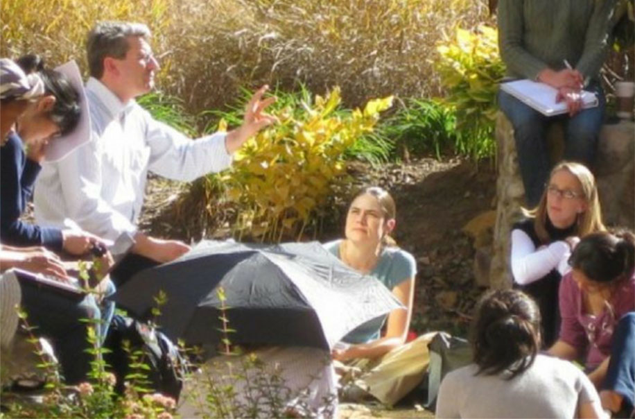 Steve Marshall teaches a course in the outdoor classroom.