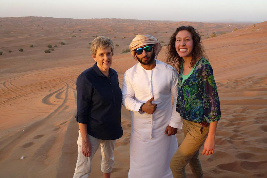 Michelle Ballasiotes (right) goes dune bashing in the United Arab Emirates with her mom and a driver. (Contributed photo)