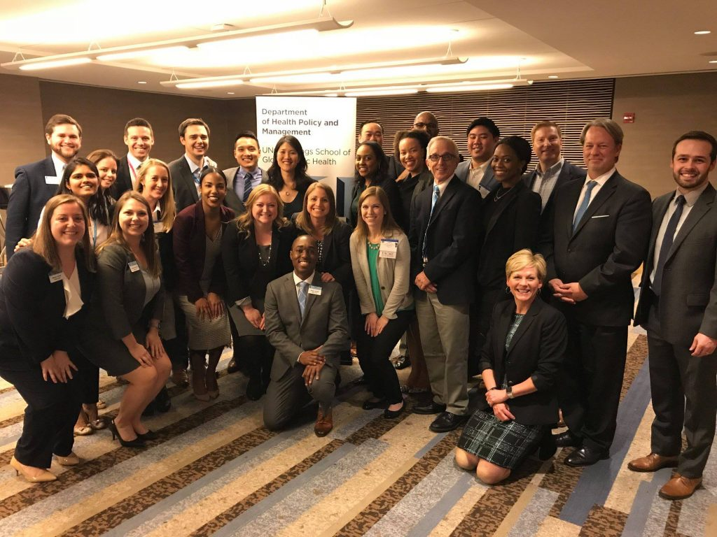 HPM alumni, faculty, and current students pose during the Alumni Reception at the American College of Healthcare Executives Congress 2018, held March 27, 2018 in Chicago.