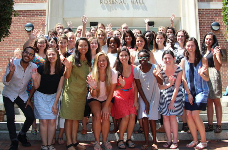 MCH students pose together for a photo at orientation.