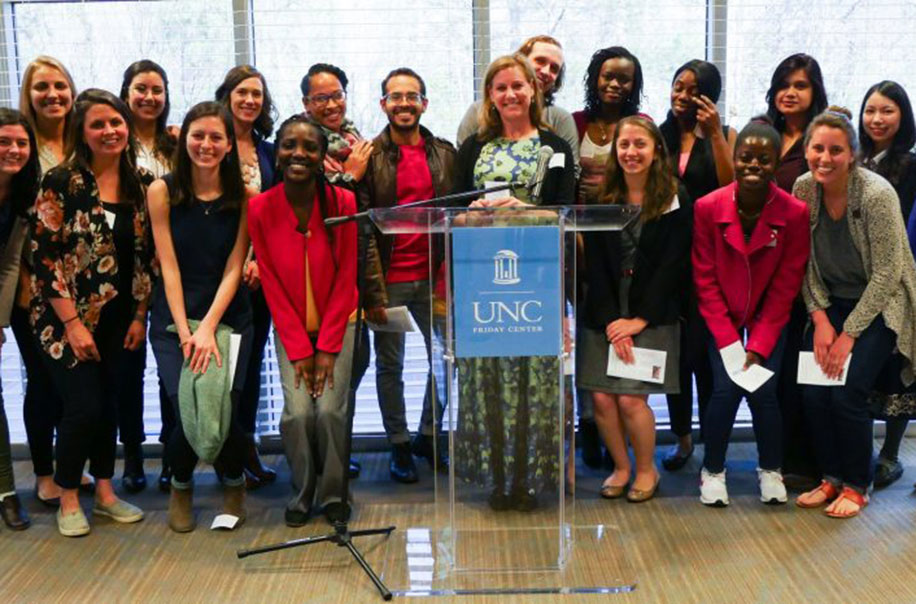 Student pose together at the UNC Friday Center.