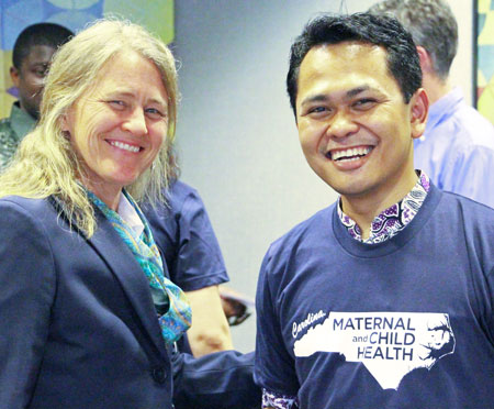 Alumna and faculty member Sherri Green, PhD with master's student Wisnu Trianggono