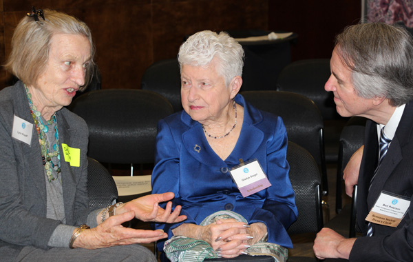 MCH Chair, Bert Peterson, visits with Lynn Knauff and Gladys Siegel during meet and greet.