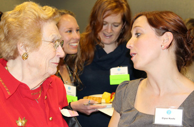 Alumna Sarah Morrow, MD, MPH (MCH '60) talks with Elyse Keefe, who is the recipient of the Sarah Taylor Morrow Scholarship.
