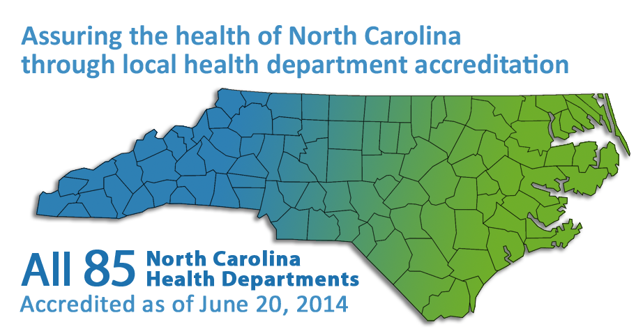 NCIPH salutes all 85 public health departments in North Carolina for achieving accreditation status through the NC Local Health Department Accreditation Program!  In addition, 48 health departments have achieved re-accreditation under the program. NCIPH has administered the program since its inception in 2004.  See the interactive map showing accreditation status at http://nciph.sph.unc.edu/accred/