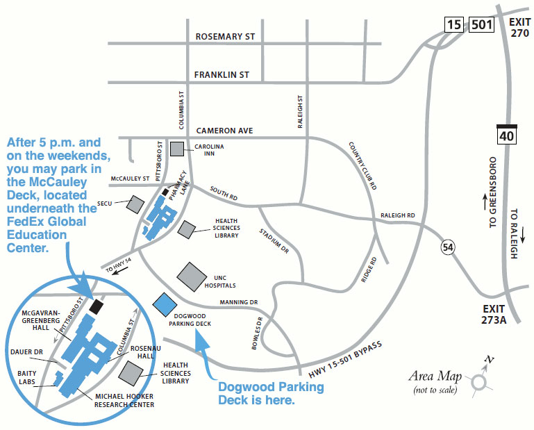 Unc Parking Map Maps and Directions • UNC Gillings School of Global Public  Unc Parking Map