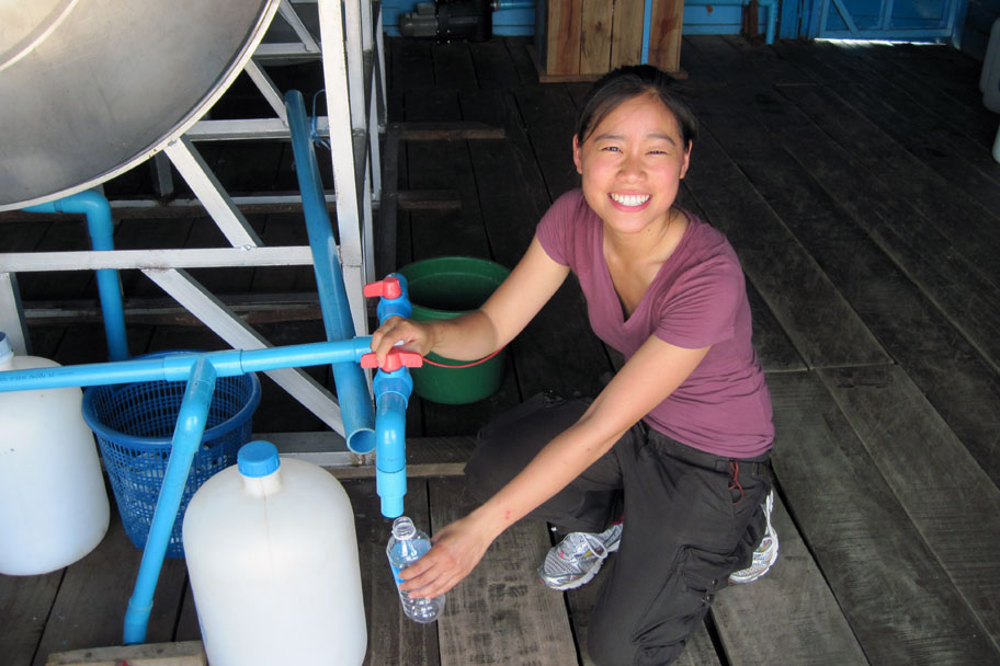Doctoral student Alice Wang worked with her mentor, Dr. Mark Sobsey, to commercialize Aquagenx, an inexpensive device to test water in the field for contamination.